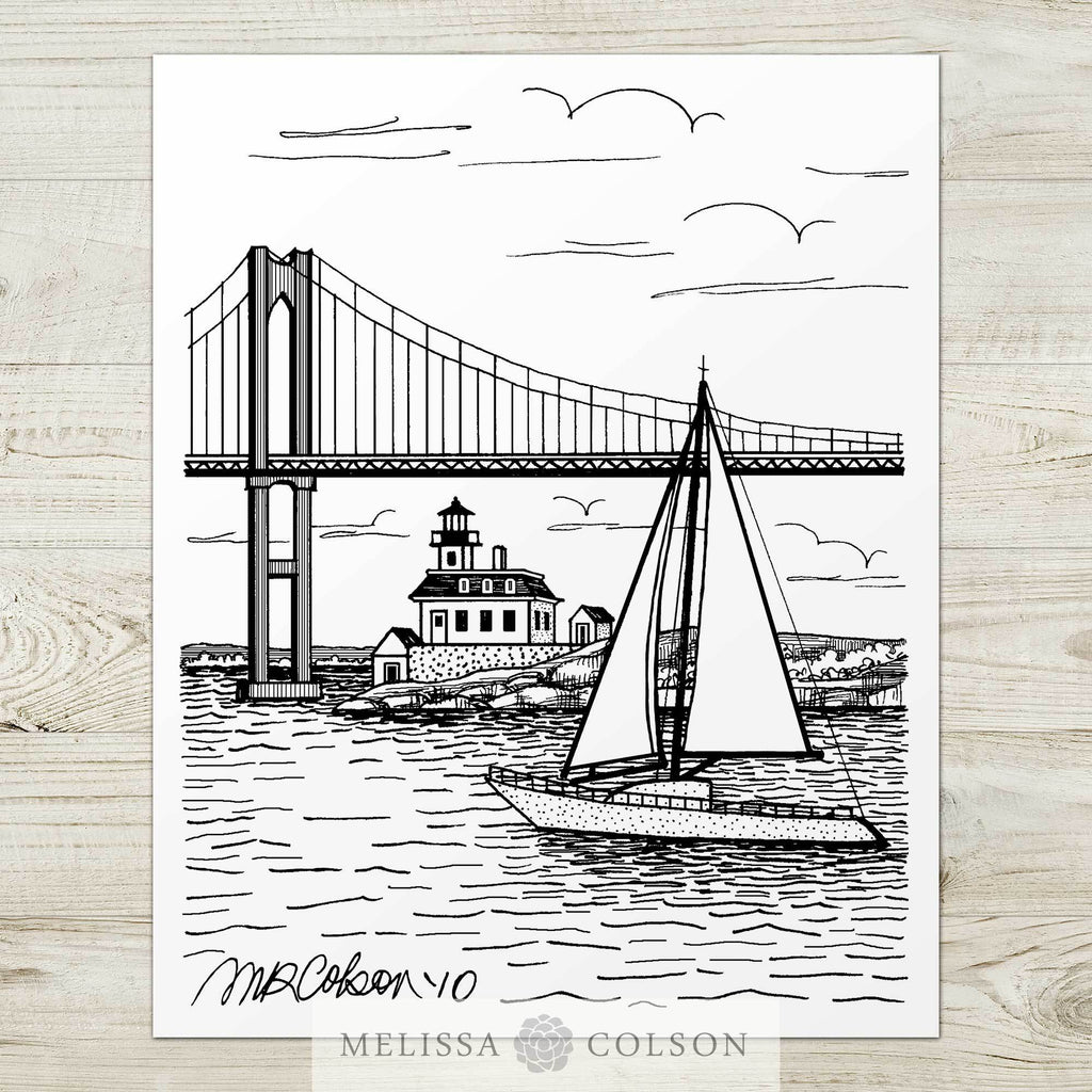 Newport Rhode Island Pen and Ink Art Print - Melissa Colson