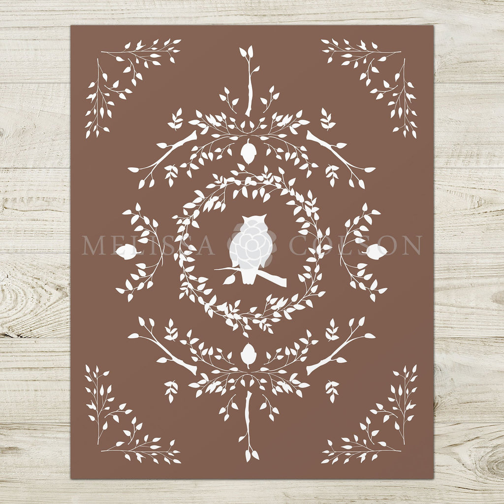 Owl Silhouette Giclée Art Print in Brown - Melissa Colson
