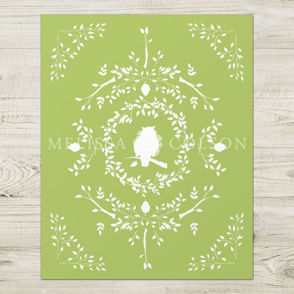Owl Silhouette Giclée Art Print in Light Green - Melissa Colson