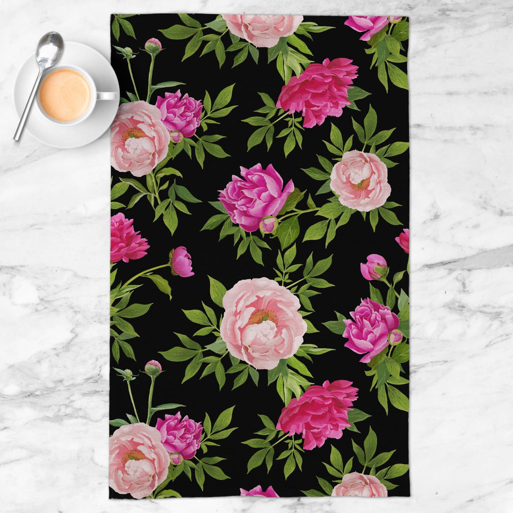 Paeonia Tea Towel in Black - Melissa Colson