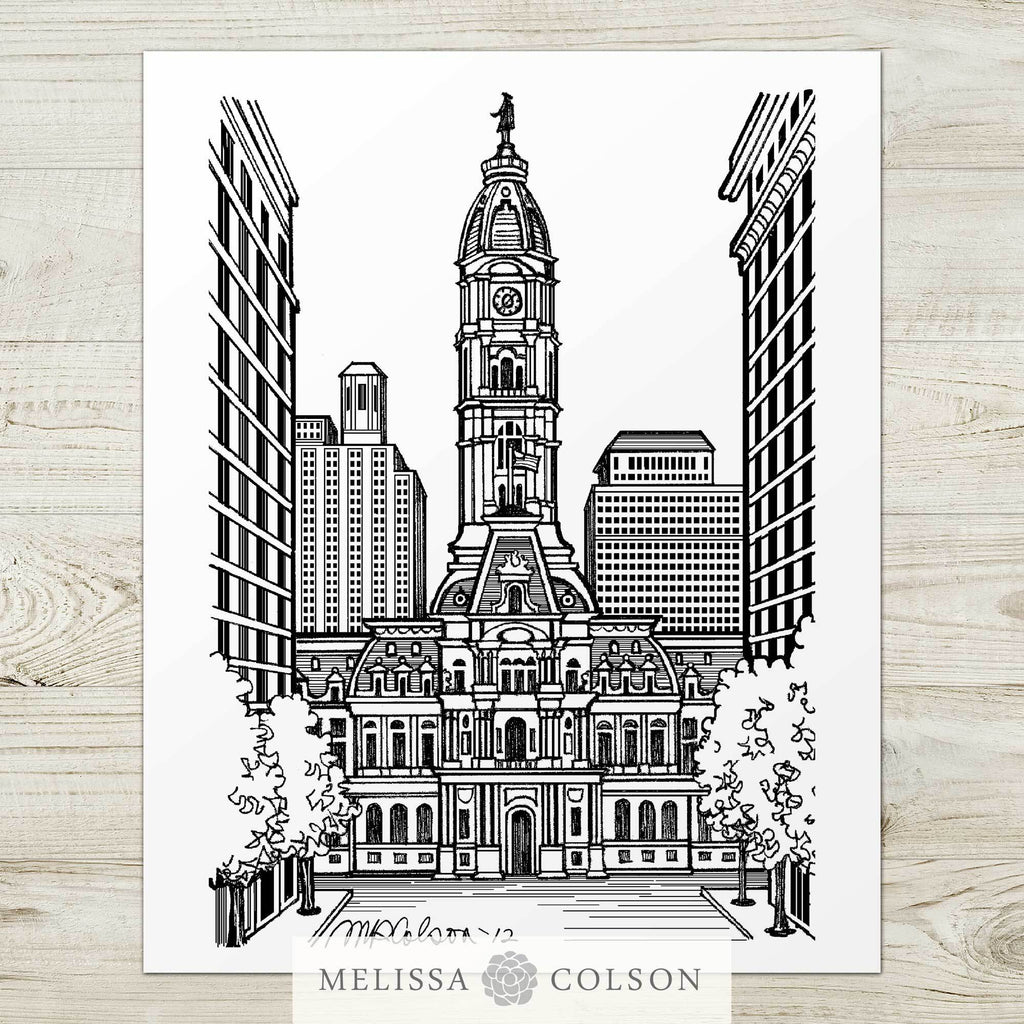 Philadelphia City Hall Pen and Ink Art Print - Melissa Colson