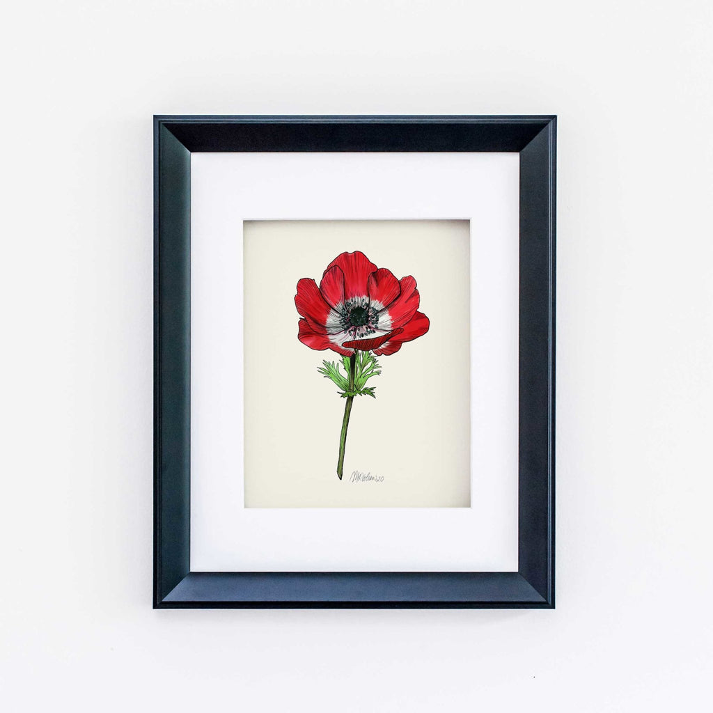 Red Poppy Giclée Watercolor Art Print - Melissa Colson
