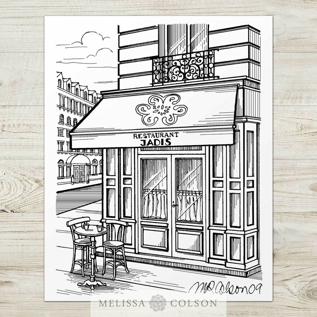 Restaurant Jadis Pen and Ink Art Print - Melissa Colson