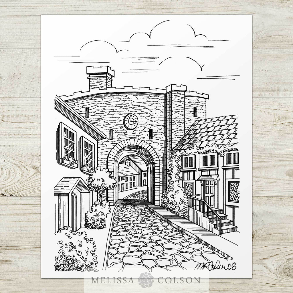 Rye Street Pen and Ink Art Print - Melissa Colson