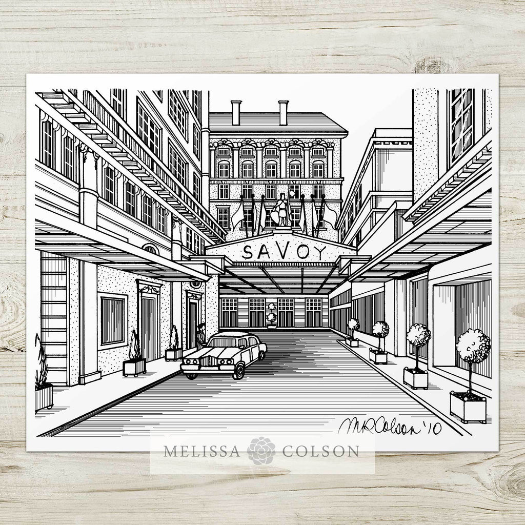 Savoy Hotel Pen and Ink Art Print - Melissa Colson