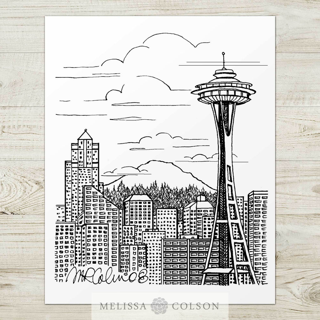 Seattle Skyline Pen and Ink Art Print - Melissa Colson