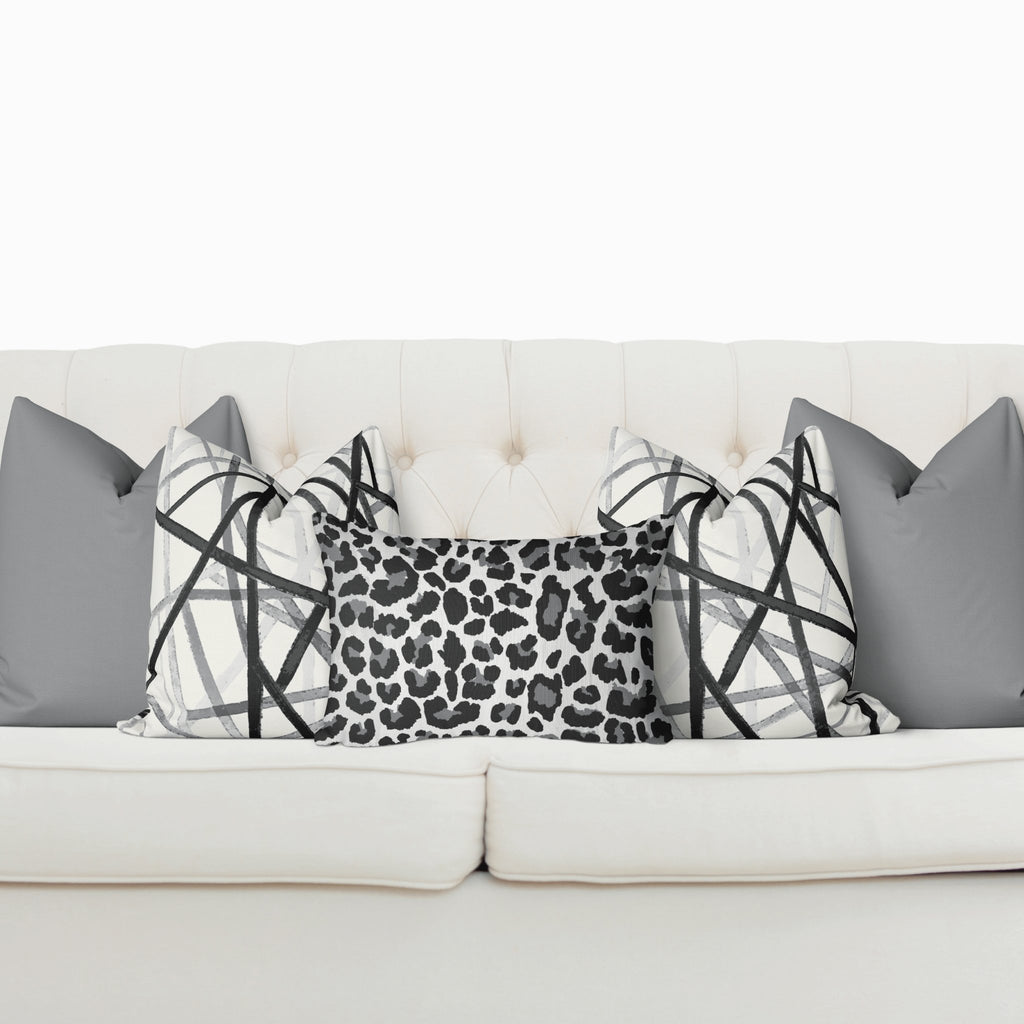 Sofa Pillow Cover Bundle - Leopard in Ultimate Gray - Melissa Colson