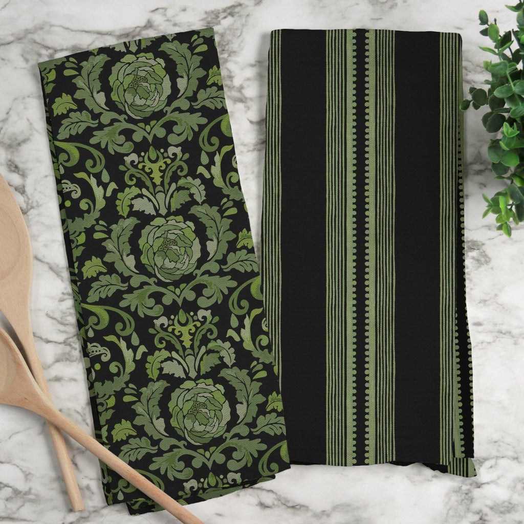 Sophisticated Stripe Tea Towel in Green / Black - Melissa Colson
