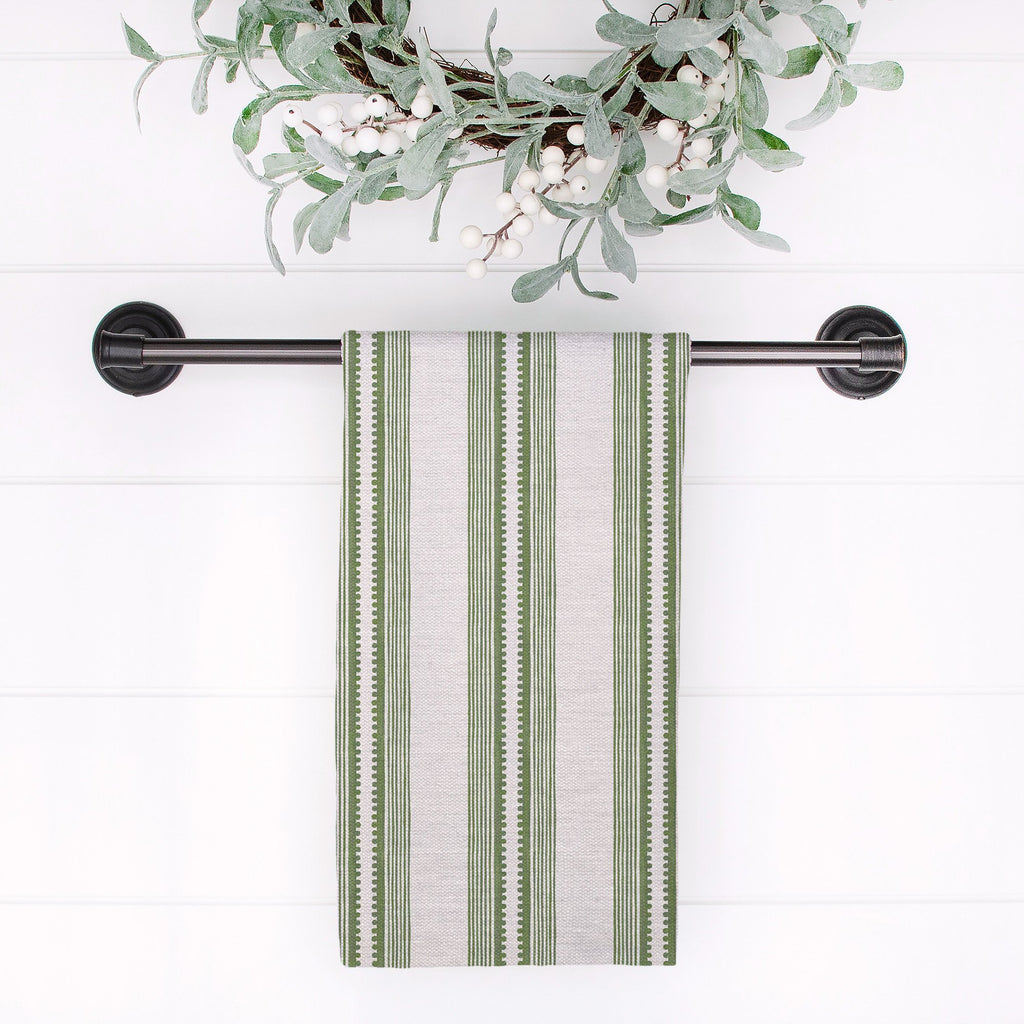 Sophisticated Stripe Tea Towel in Green / Blush - Melissa Colson
