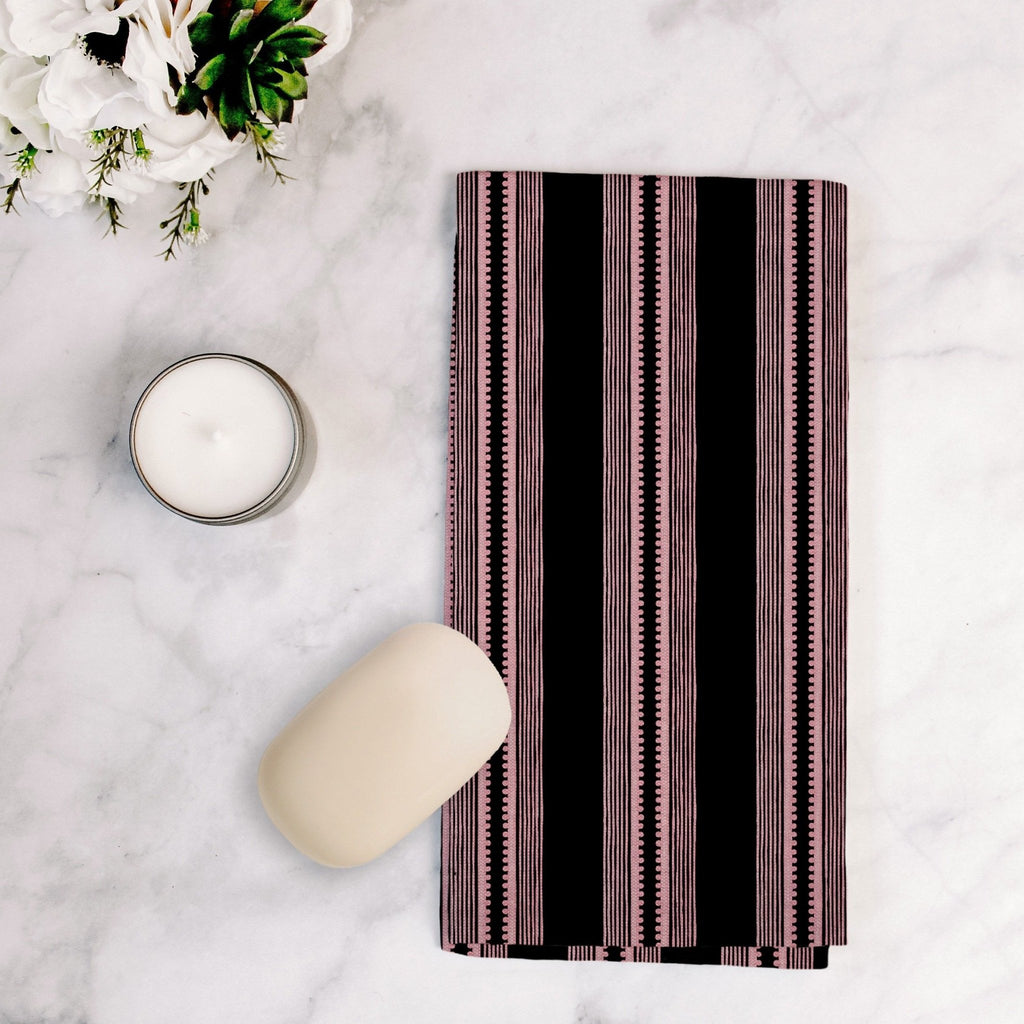 Sophisticated Stripe Tea Towel in Pink / Black - Melissa Colson
