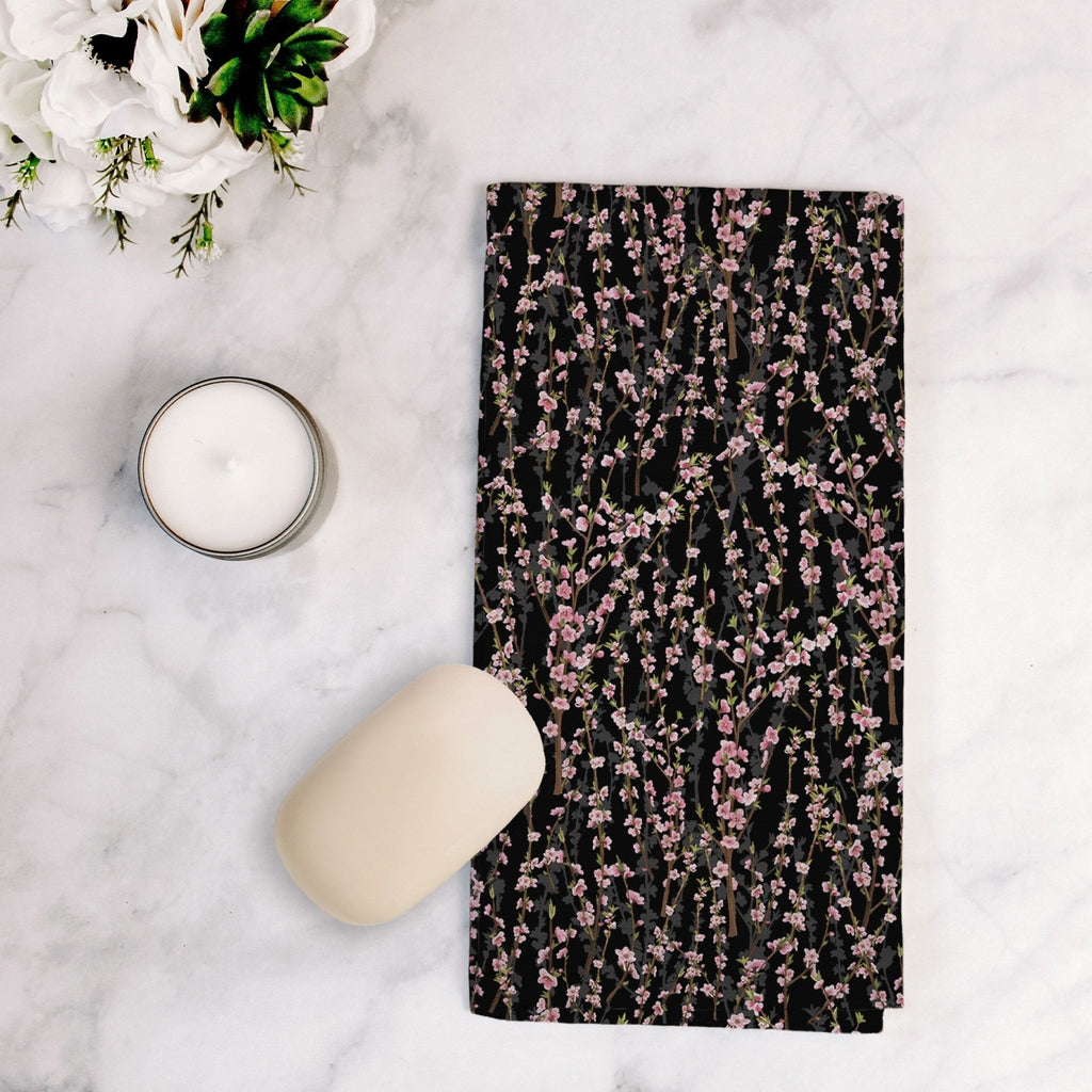 Splendid Blossoms Tea Towel in Black - Melissa Colson