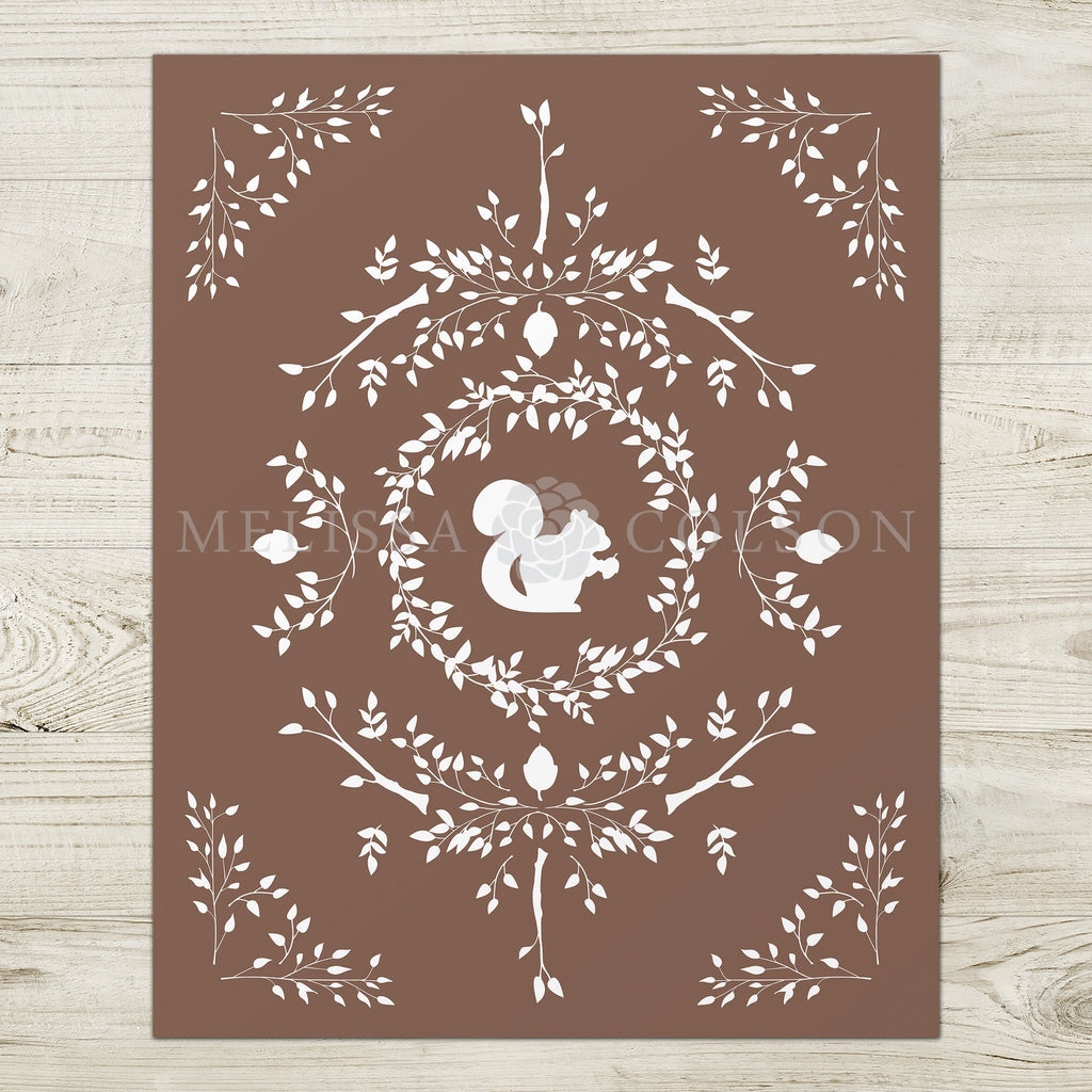 Squirrel Silhouette Giclée Art Print in Brown - Melissa Colson