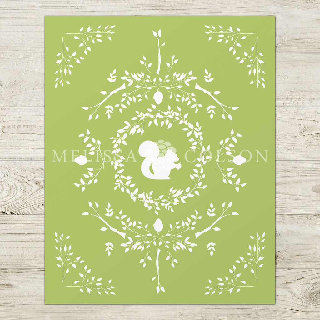 Squirrel Silhouette Giclée Art Print in Light Green - Melissa Colson