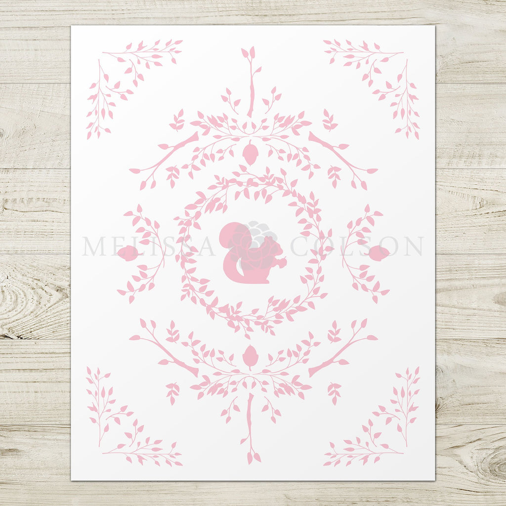 Squirrel Silhouette Giclée Art Print in Pink - Melissa Colson