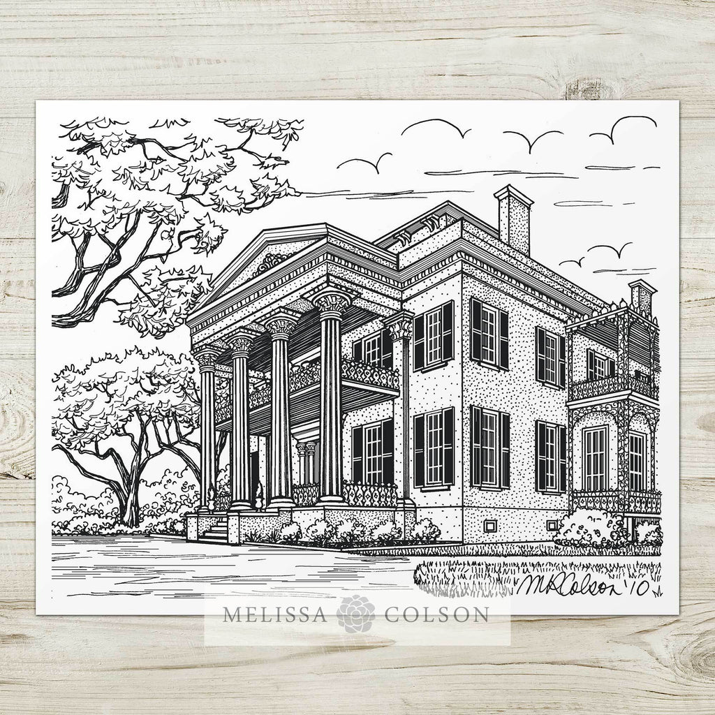 Stanton Hall Inn Pen and Ink Art Print - Melissa Colson