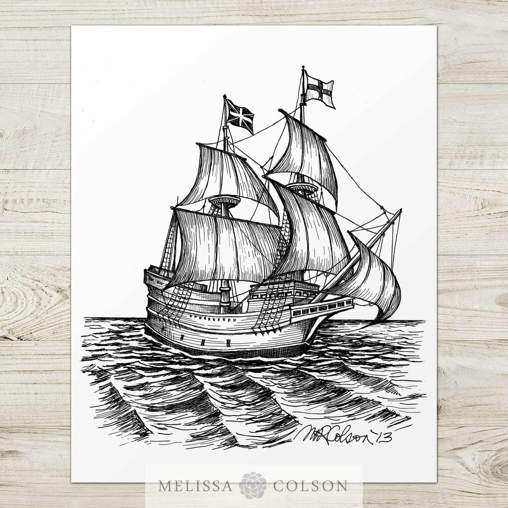 The Mayflower Pen and Ink Art Print - Melissa Colson