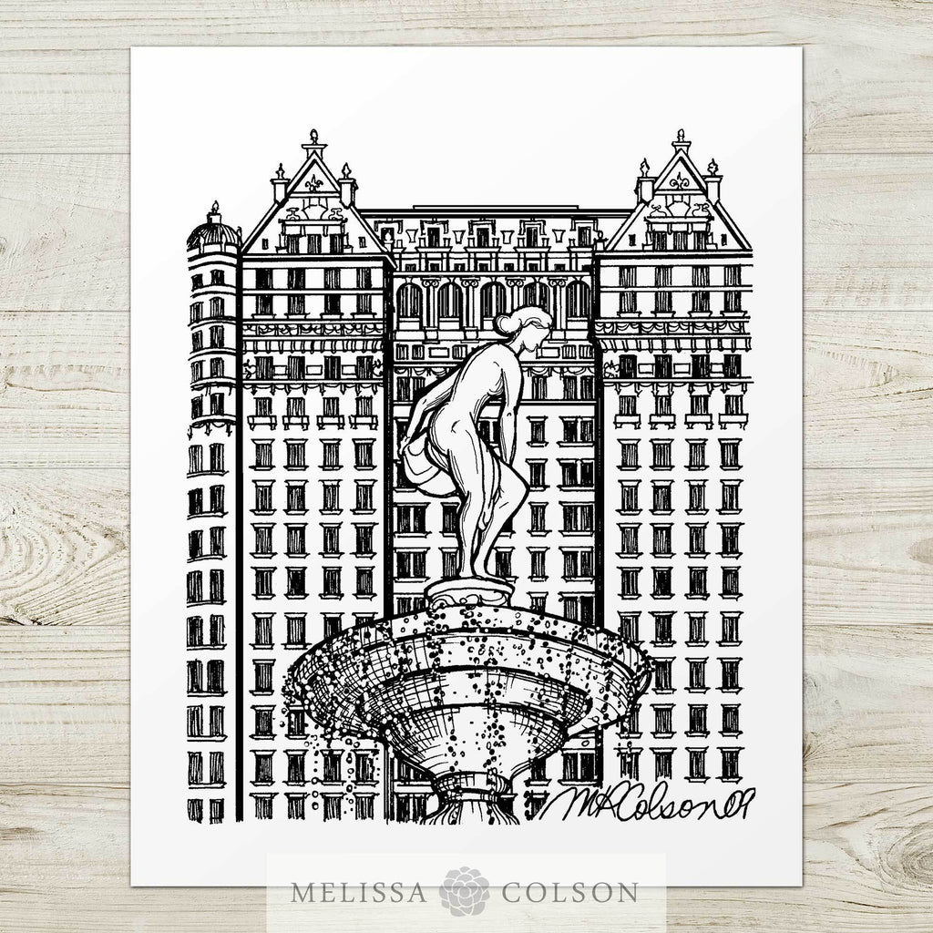 The Plaza Hotel Pen and Ink Art Print - Melissa Colson
