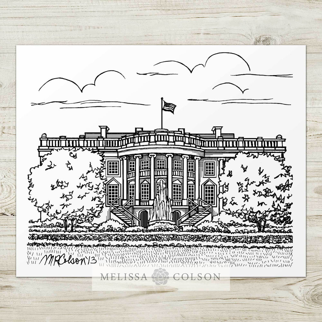 The White House Pen and Ink Art Print - Melissa Colson