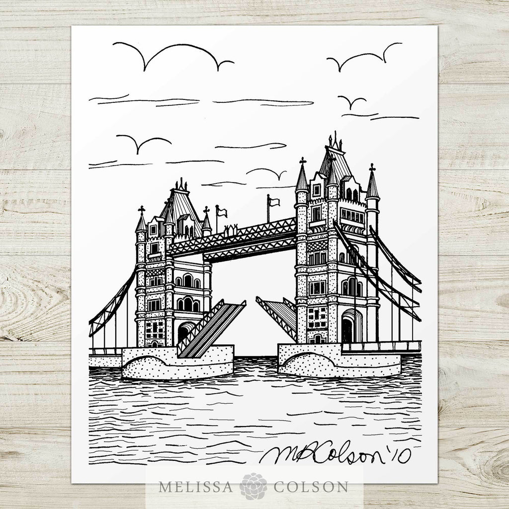 Tower Bridge Pen and Ink Art Print - Melissa Colson