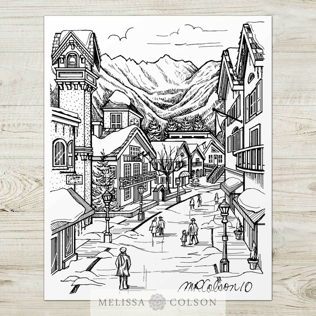 Vail Winter Village Pen and Ink Art Print - Melissa Colson