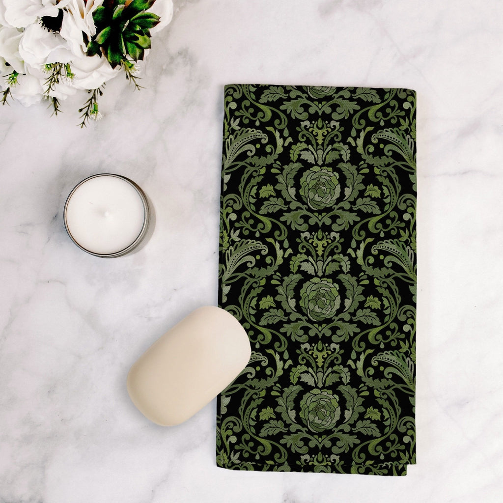 Victoria Damask Tea Towel in Green / Black - Melissa Colson