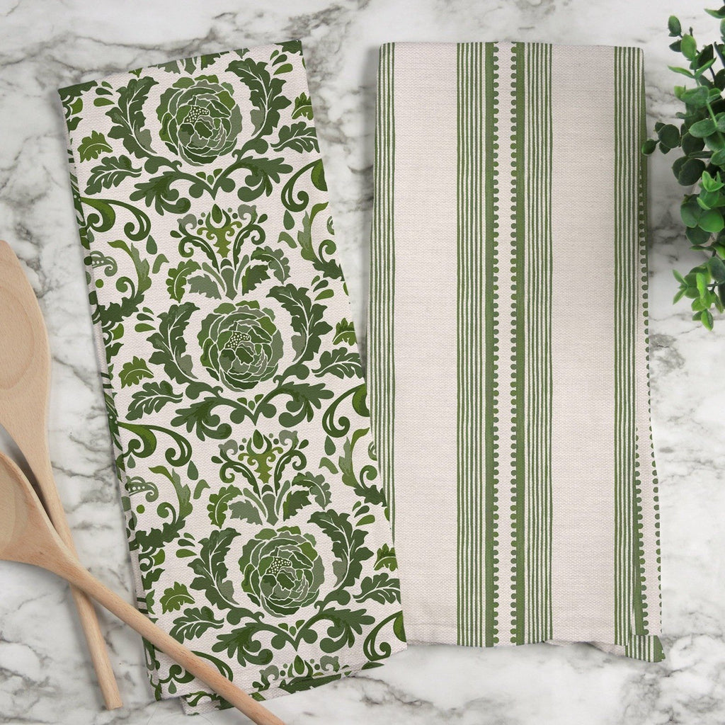 Victoria Damask Tea Towel in Green / Blush - Melissa Colson