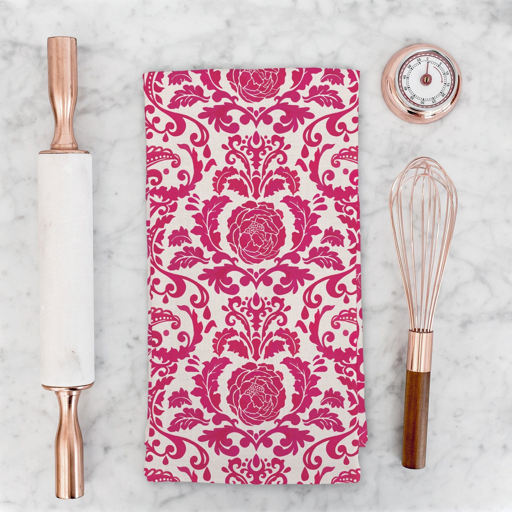 Victoria Damask Tea Towel in Pink / Blush - Melissa Colson