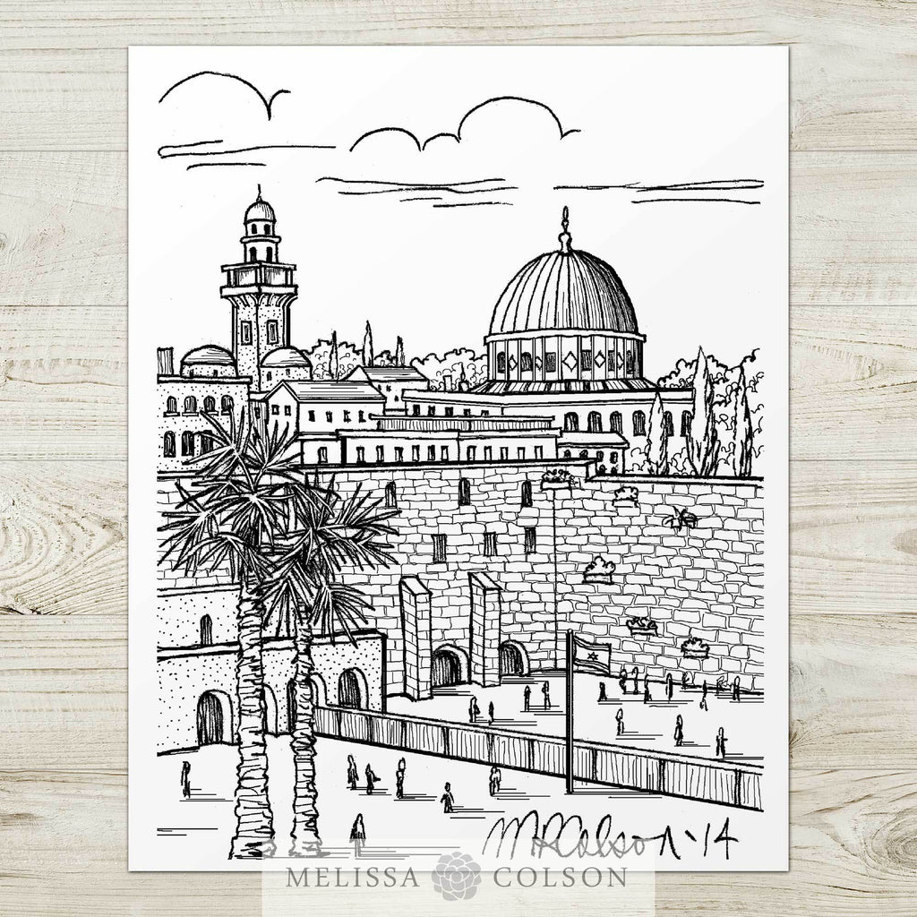 Western Wall Pen and Ink Art Print - Melissa Colson