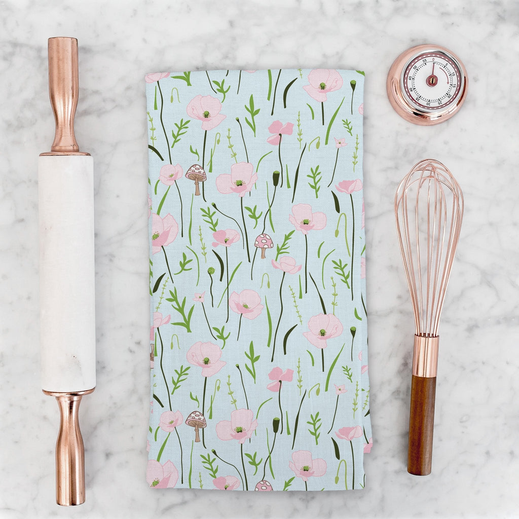 Wonder Floral Tea Towel in Sky Blue - Melissa Colson