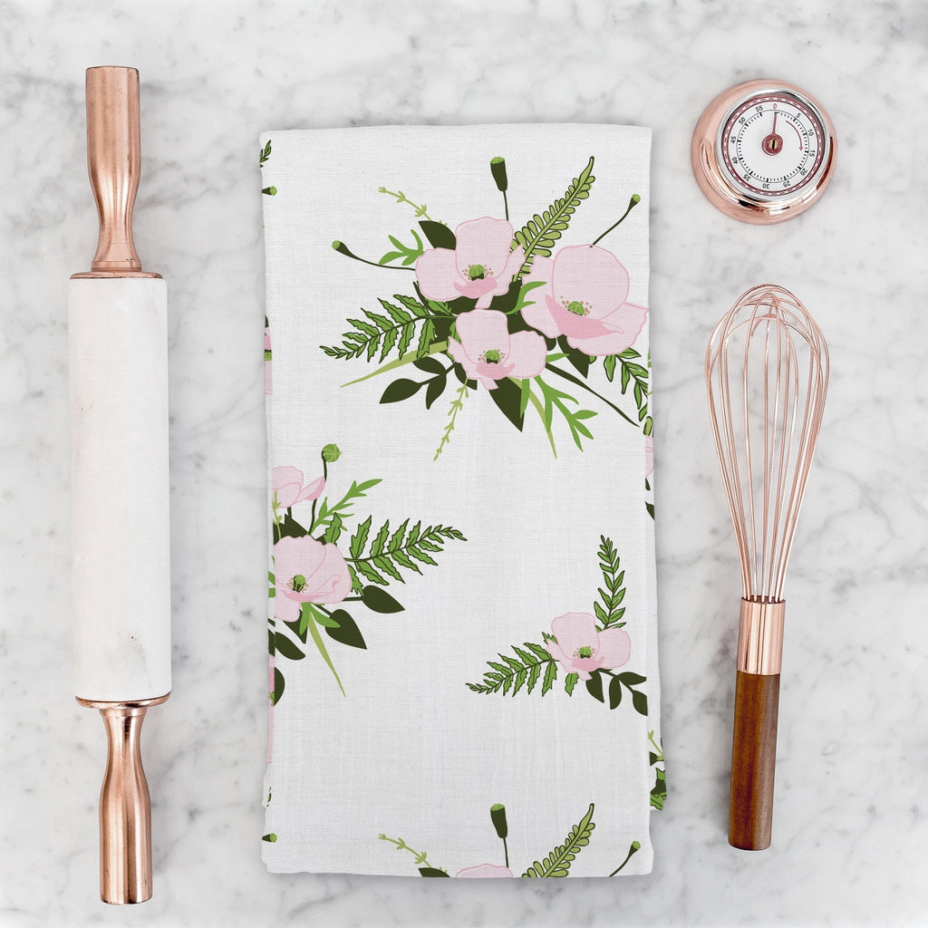 Woodland Bouquet Tea Towel in Cloud White - Melissa Colson