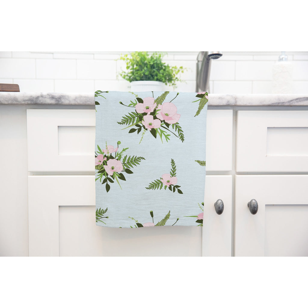 Woodland Bouquet Tea Towel in Sky Blue - Melissa Colson