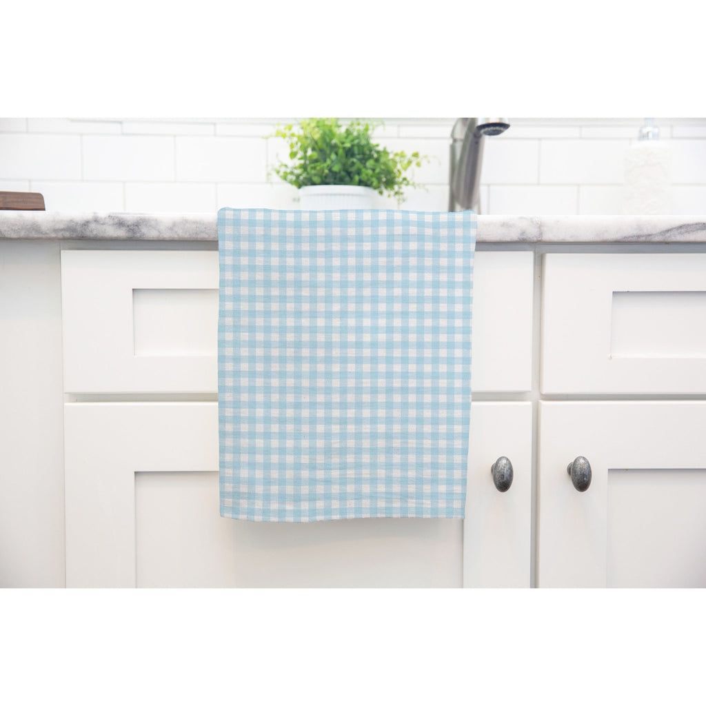Woodland Check Tea Towel in Blue - Melissa Colson