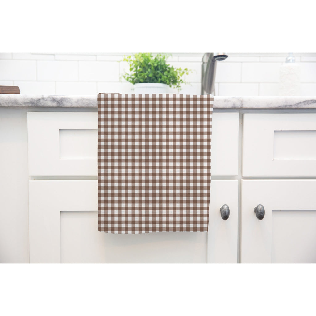 Woodland Check Tea Towel in Brown - Melissa Colson