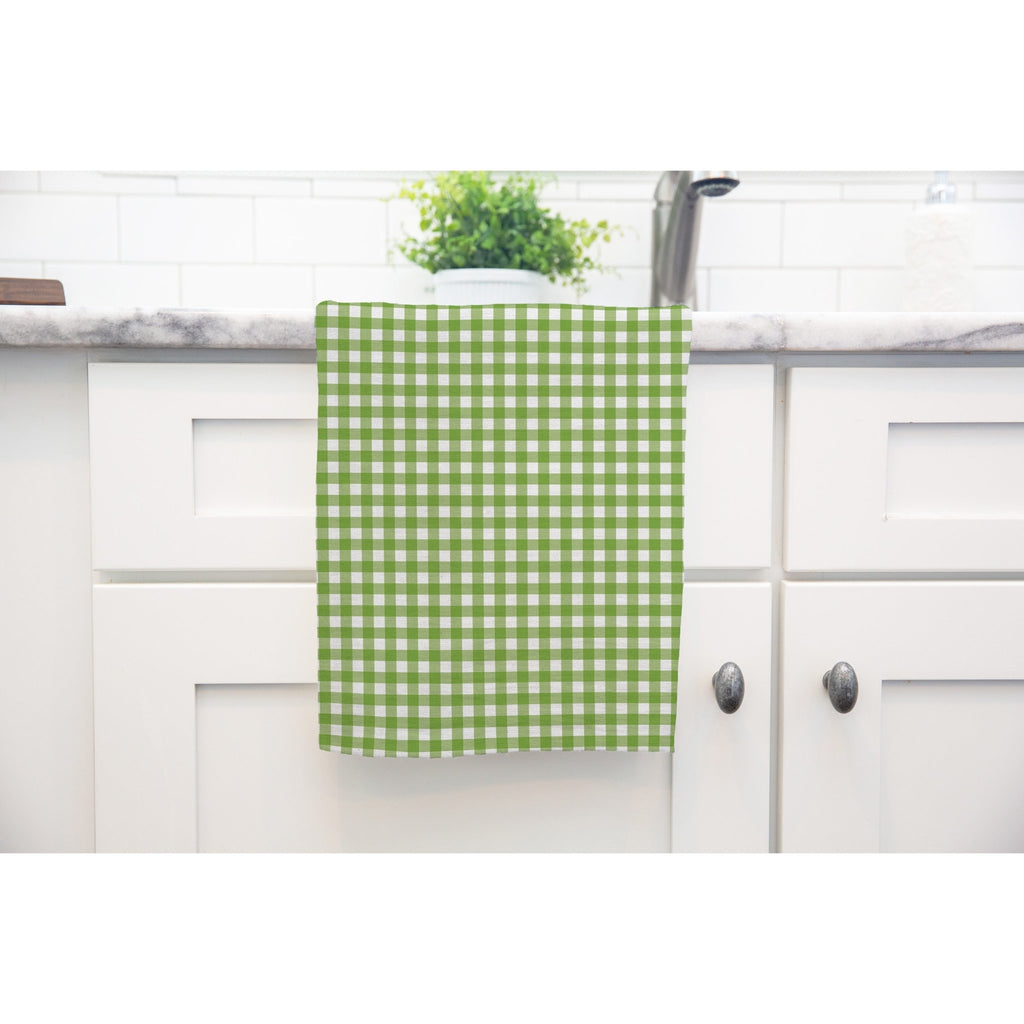 Woodland Check Tea Towel in Dark Green - Melissa Colson