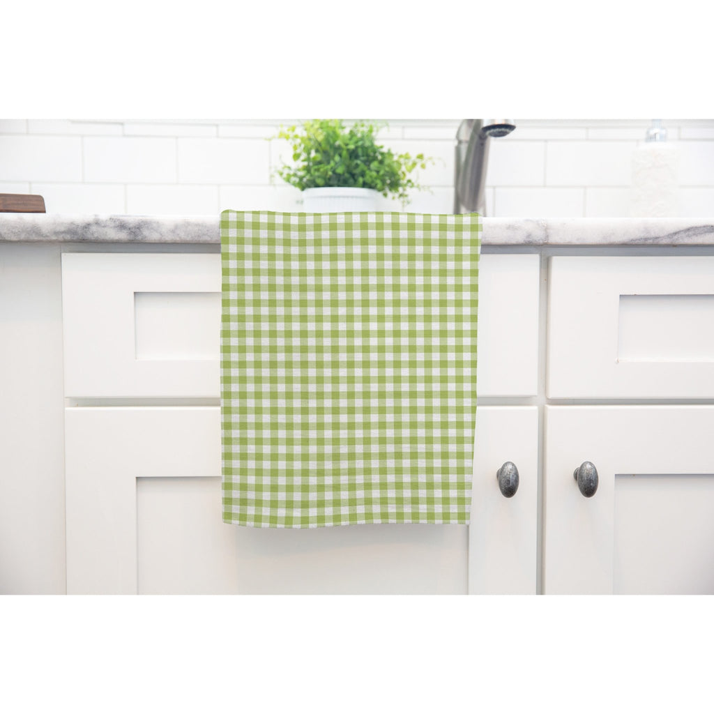 Woodland Check Tea Towel in Light Green - Melissa Colson