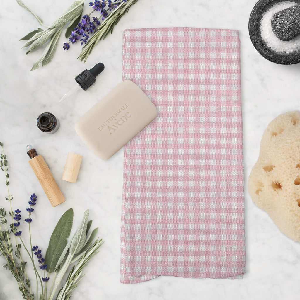 Woodland Check Tea Towel in Pink - Melissa Colson