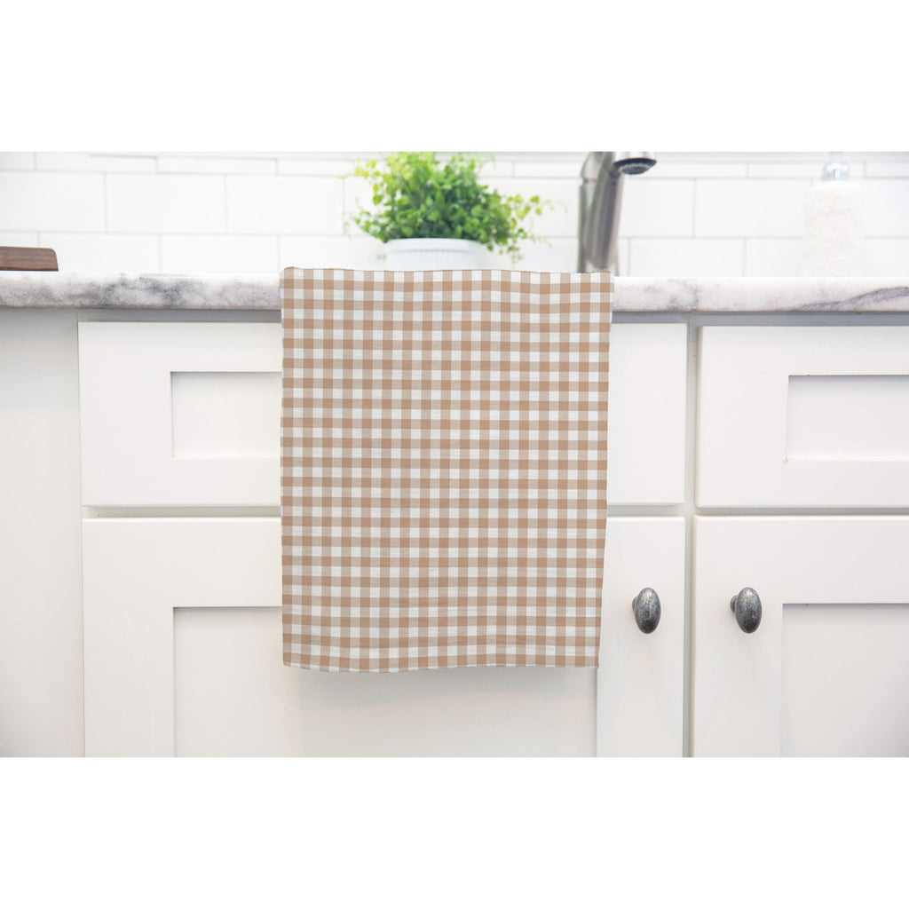 Woodland Check Tea Towel in Tan - Melissa Colson