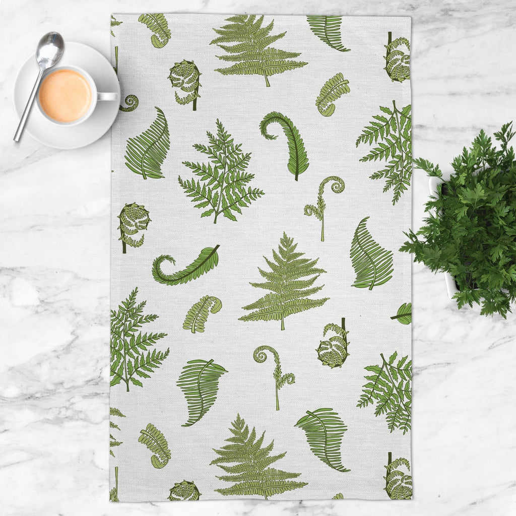 Woodland Ferns Tea Towel in Cloud White - Melissa Colson