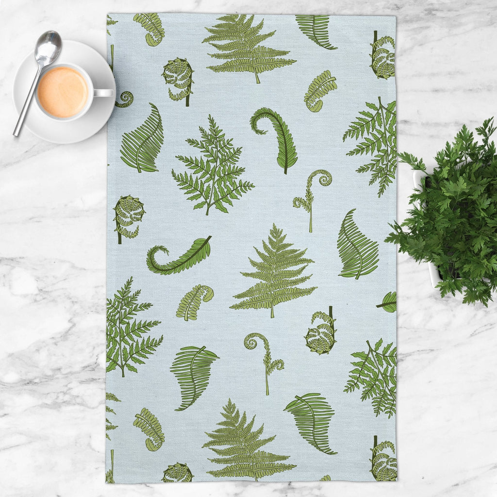 Woodland Ferns Tea Towel in Sky Blue - Melissa Colson