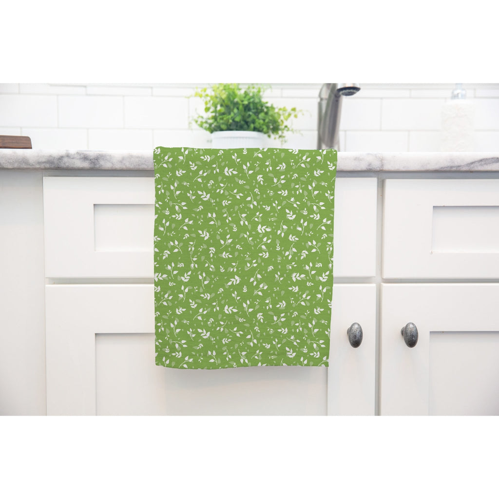 Woodland Leaves Tea Towel in Dark Green - Melissa Colson