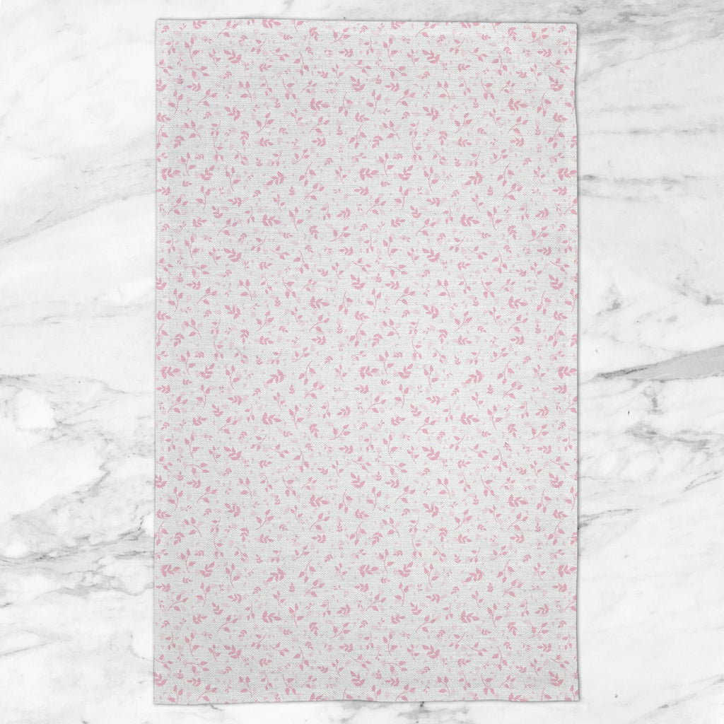 Woodland Leaves Tea Towel in Pink - Melissa Colson