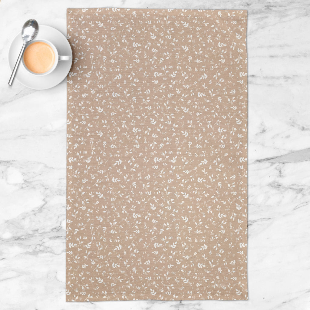 Woodland Leaves Tea Towel in Tan - Melissa Colson