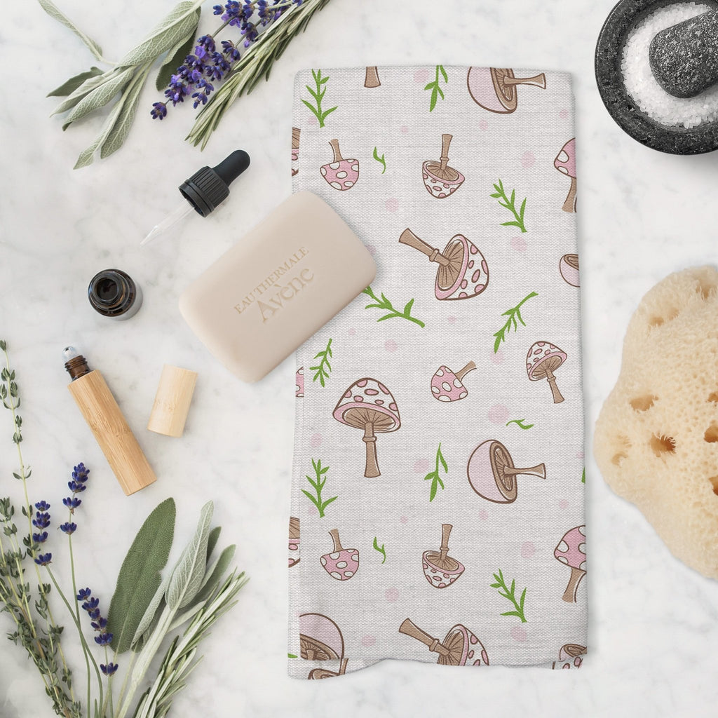 Woodland Mushrooms Tea Towel in Cloud White - Melissa Colson