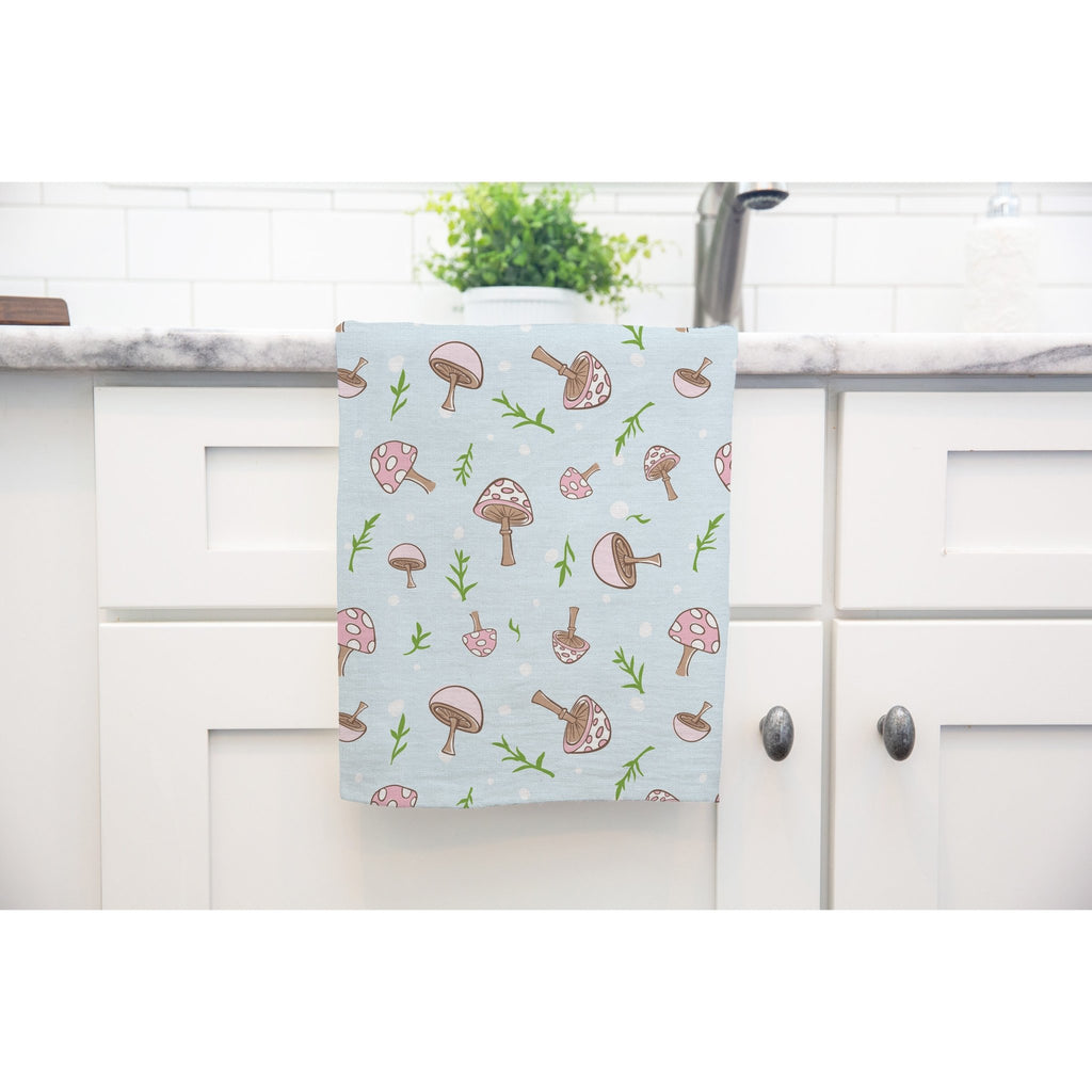 Woodland Mushrooms Tea Towel in Sky Blue - Melissa Colson
