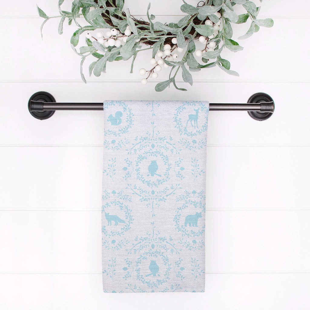 Woodland Silhouette Tea Towel in Blue - Melissa Colson