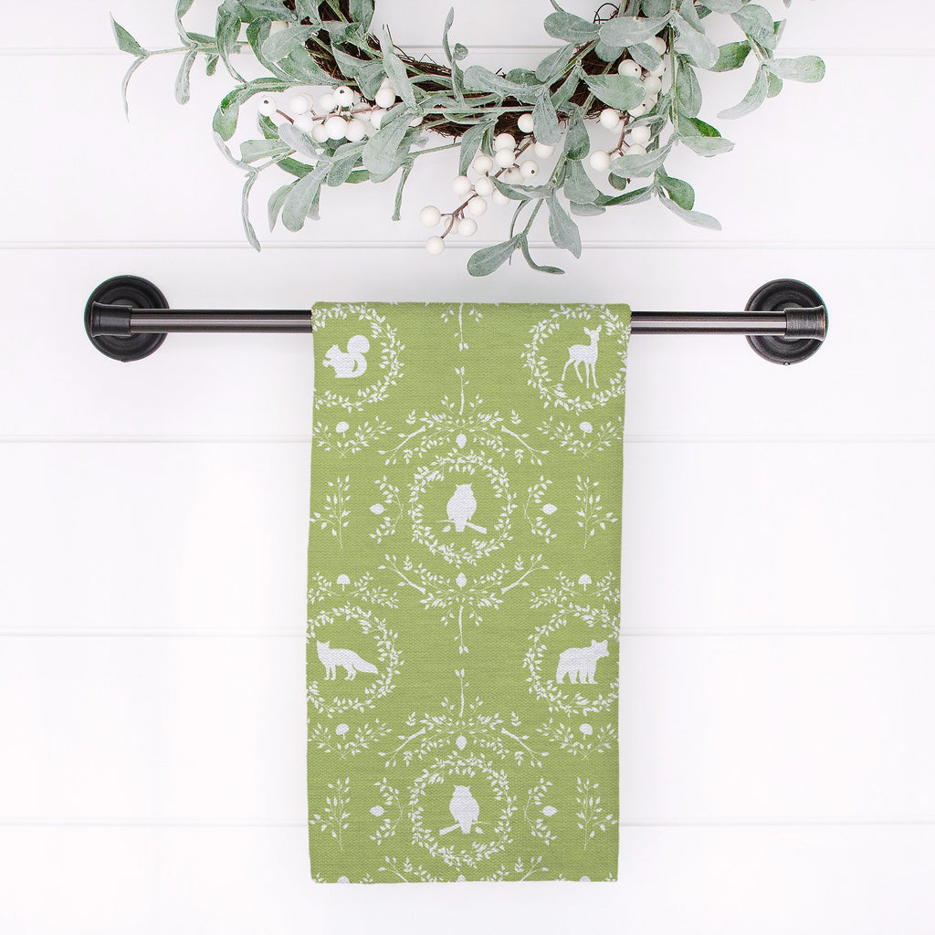 Woodland Silhouette Tea Towel in Light Green - Melissa Colson