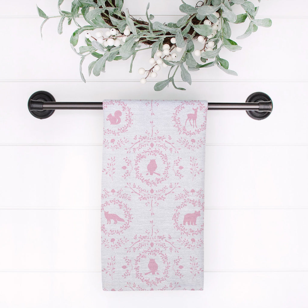 Woodland Silhouette Tea Towel in Pink - Melissa Colson