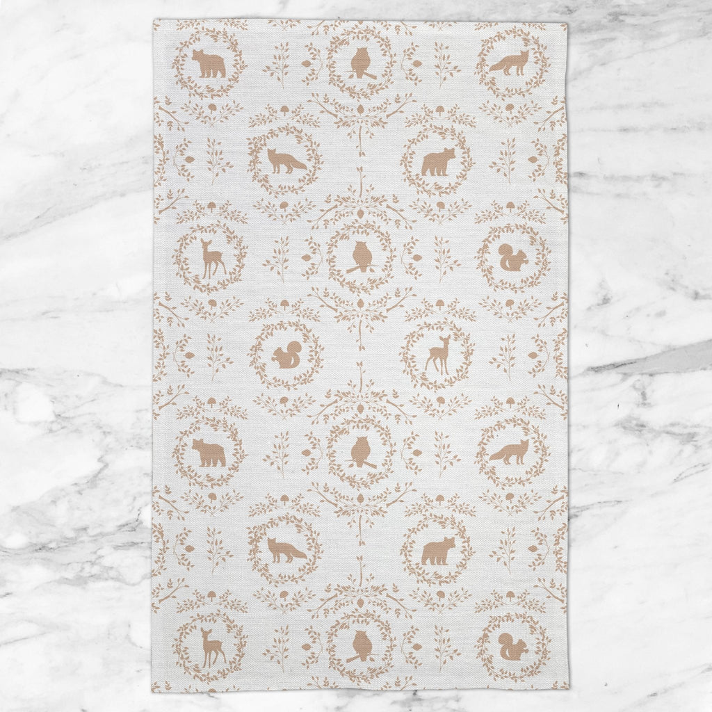 Woodland Silhouette Tea Towel in Tan - Melissa Colson