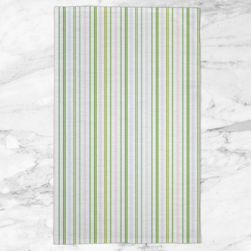 Woodland Stripe Tea Towel in Blue / Pink - Melissa Colson