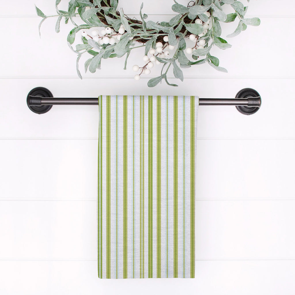 Woodland Stripe Tea Towel in Green / Blue - Melissa Colson